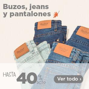 Buzos, jeans y pantalones hasta 40%