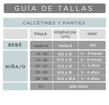 Guía tallas calcetines y panties